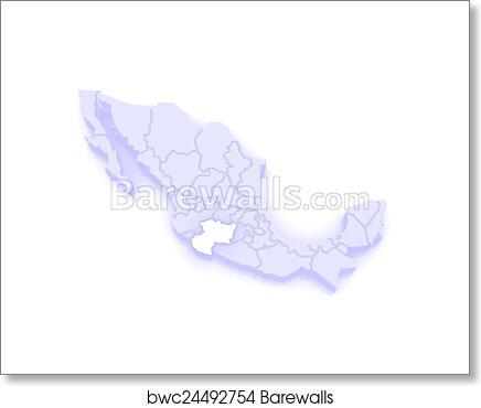 Art Print of Map of Michoacan. Mexico | Barewalls Posters & Prints ...