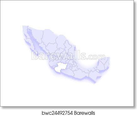 Map of Michoacan. Mexico art print poster