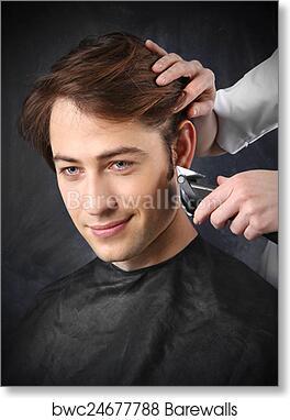 Mens Hairstyle Art Print Barewalls Posters Prints Bwc24677788