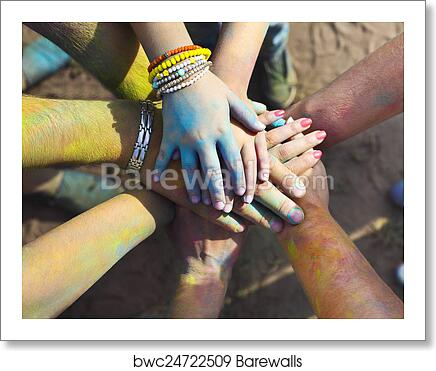 Friends putting their hands together in a sign of unity and team art print  poster