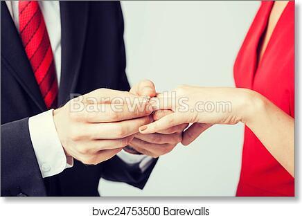 Man Putting Wedding Ring On Woman Hand Art Print Poster