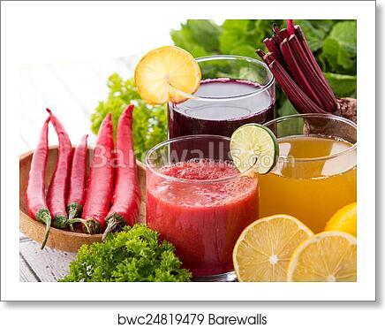 art print of beetroot lemon and chilli heathy juice barewalls