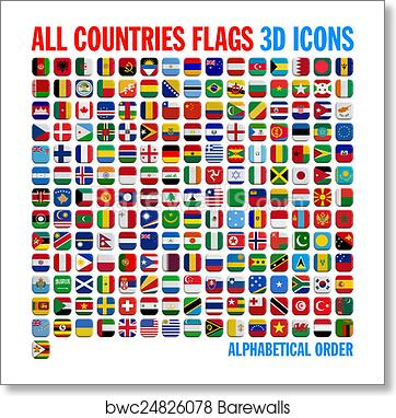 art print of all country flags complete set barewalls posters