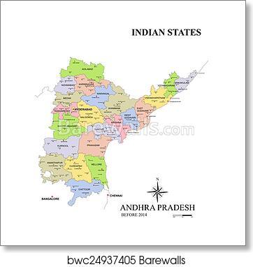 Art Print of State of Andhra Pradesh map | Barewalls Posters ...