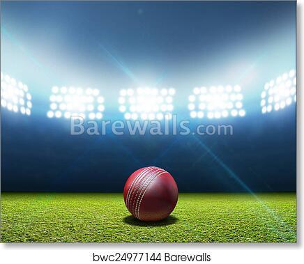 Cricket Stadium And Ball Art Print, Cricket Ball Lamp Base
