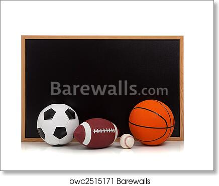 Art Print Of Assorted Sports Balls With A Chalkboard Background