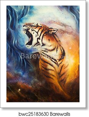 Beautiful Airbrush Painting Of A Roaring Tiger On A Abstract Art Print Poster