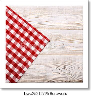 Top View Of Checkered Tablecloth On White Wooden Table Art Print Barewalls Posters Prints Bwc25212795