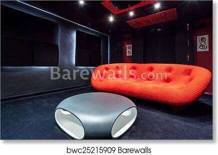 Art Print Of Red Sofa At Home Cinema