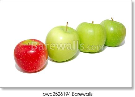 art print of red apple standing out from the crowd barewalls