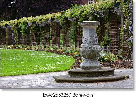 Art Print Of English Garden Sundial