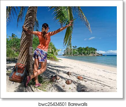 Tourist Girl Enjoying View Of Beautiful Island And Beach Art Print Poster