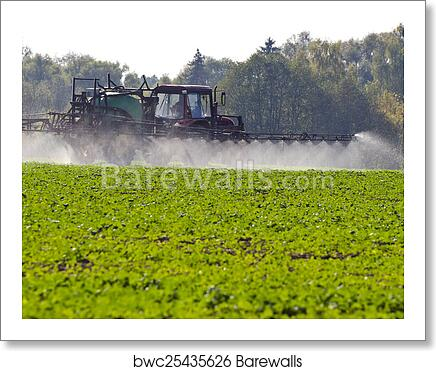 Tractor spray fertilize with insecticide herbicide chemicals in agriculture  field art print poster