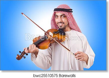 Arab man playing music on white art print poster
