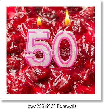 Art Print Of Cherry Cheese Cake With Candles For 50th Birthday