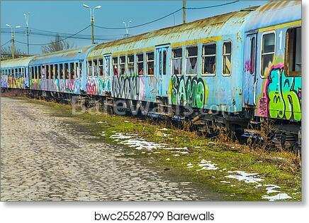 Abandoned train wagon art print poster