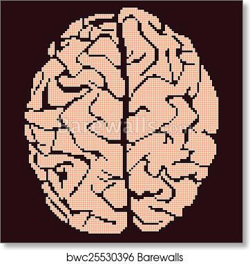 Art Print Of Brain Pixel Art