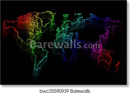 Art print of neon outline map of the world barewalls posters art print of neon outline map of the world barewalls posters prints bwc25590939 gumiabroncs Image collections