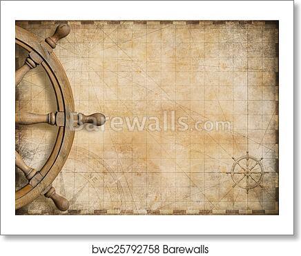 Art Print of Steering wheel and blank vintage nautical map ...