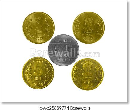 Indian 5 Rupees coins with Different designs art print poster