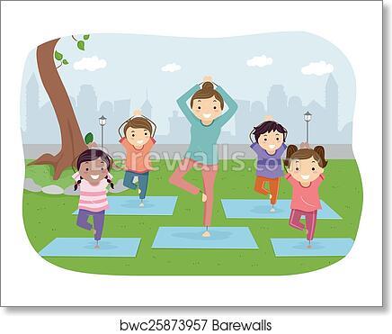 Stickman Kids Outdoor Yoga art print poster