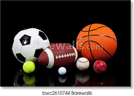 Art Print Of Assorted Sports Balls On A Black Background