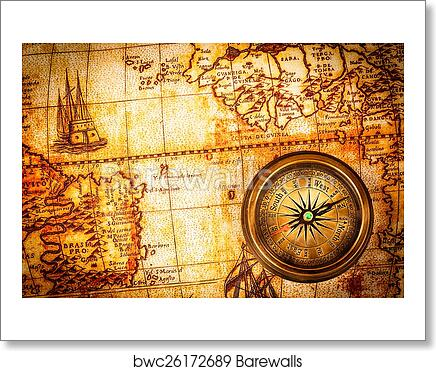 Art Print Of Vintage Compass Lies On An Ancient World Map