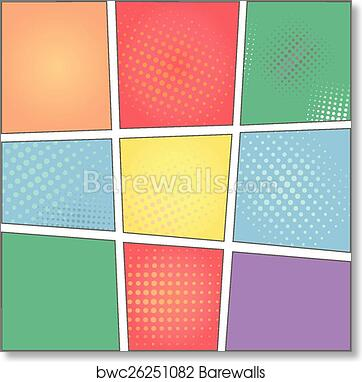 Art Print Of Vector Colorful Template Comic Book Page With Rays Stars Dots Halftone Background