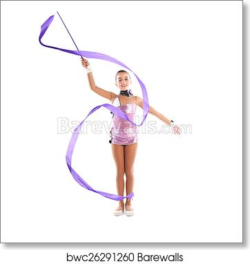 Kid girl ribbon rhythmic gymnastics exercise art print poster