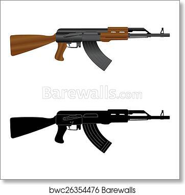 Assault rifle Kalashnikov AK-47 art print poster