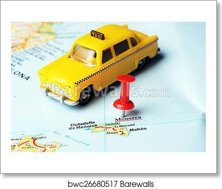 Menorca Island Spain Map Taxi Art Print Barewalls Posters