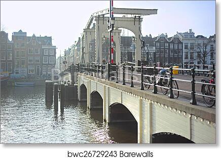 Famous Skinny Bridge, Amsterdam art print poster