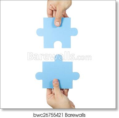 art print of two hands connecting puzzle pieces barewalls posters