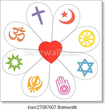 Art Print Of Religions Peace Flower Heart Symbol Barewalls Posters