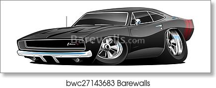 Art Print Of Classic American Muscle Car Cartoon Barewalls Posters