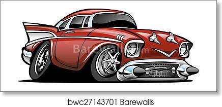 Art Print Of Classic American Hot Rod Cartoon Il Barewalls - Cool car cartoon