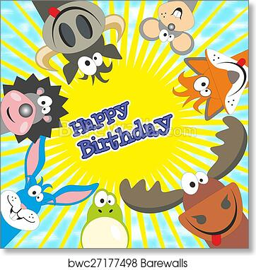 Art Print Of Cute Happy Birthday Card With Funny Animals Elk Cow