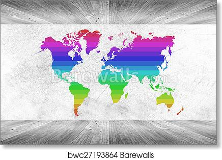 Colorful World Map Art.Art Print Of Wood Wall And Floor Room Interior White Color With