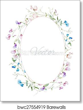 Art Print Of Watercolor Floral Frame