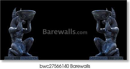 Egyptian ancient art Anubis Sculpture Figurine Statue art print poster
