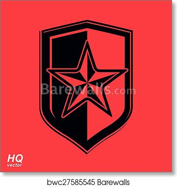 Art Print Of Vector Shield With A Red Pentagonal Soviet Star