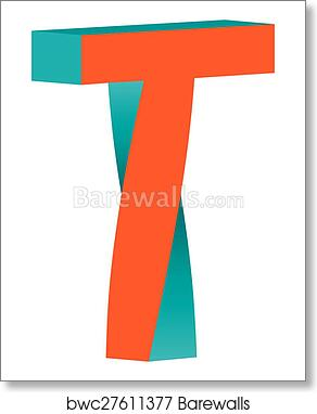 art print of twisted letter t logo icon design template element