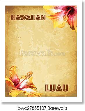 art print of hawaiian luau party invitation card barewalls posters