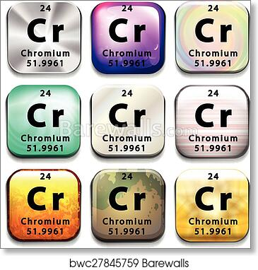 Art Print Of A Periodic Table Button Showing Chromium Barewalls