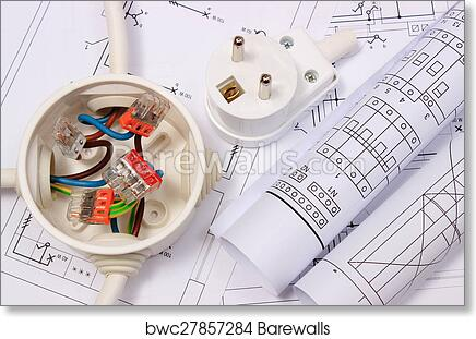 art print of electrical box diagrams and electric plug on Electrical Print Symbols art print of electrical box diagrams and electric plug on construction drawing