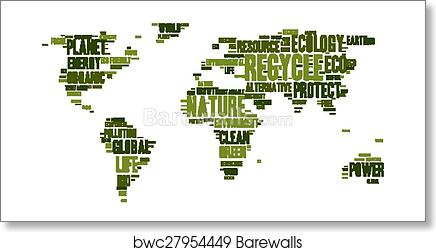 Frameable World Map.World Map Made Of Eco Words Art Print Barewalls Posters Prints