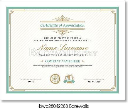 Art Print of Vintage retro art deco frame certificate background ...