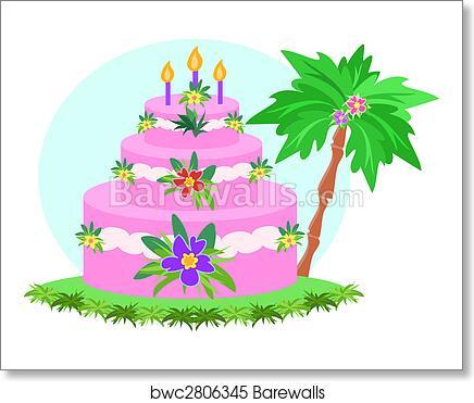 Tremendous Happy Birthday Tropical Cake Art Print Barewalls Posters Birthday Cards Printable Trancafe Filternl