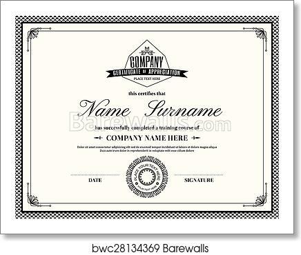 art print of retro frame certificate of appreciation template