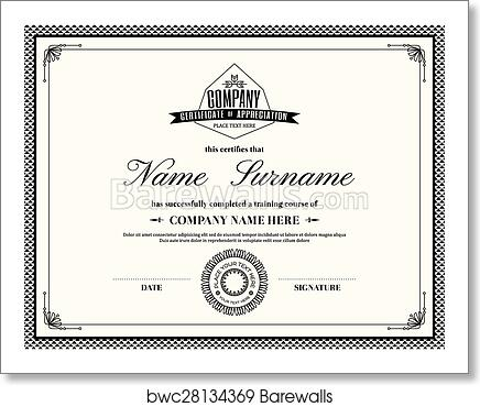 art print of retro frame certificate of appreciation template